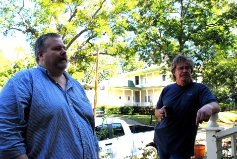 Craig Woolheater and Rick Noll outside the McKay House. Photo: Chris Buntenbah